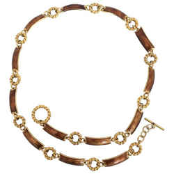 1970's Gucci Gold Tone With Bronze Enamel Chain Link Belt