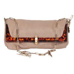 Lanvin Taupe Leather Foldable Odysee Shoulder bag with Chain Strap