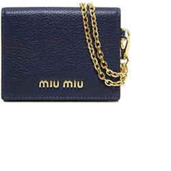 Miu Miu Baltico Navy Leather Credit Card Holder Madras Chain 5mc320