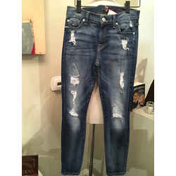 7 For All Mankind 26 In. Blue Stretch Cotton Jeans - 3-382-92319