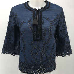 Yigal Azrouel Blue Embroidered Blouse Size Medium
