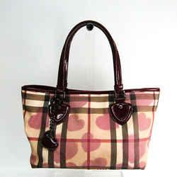 Burberry Heart Women's Coated Canvas,Patent Leather Handbag Beige,Borde BF513773