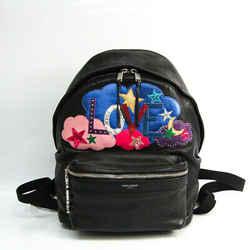 Saint Laurent 454319 Women's Leather,Canvas Backpack Black,Multi-color BF521067