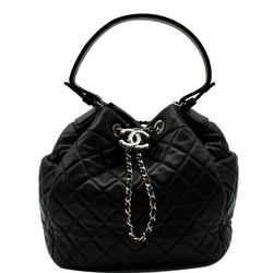 CHANEL  Drawstring Bucket Quilted Lambskin Leather Shoulder Bag Black