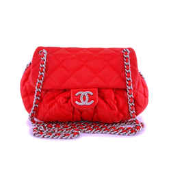 Chanel Red Textured Medium Chain Around Crossbody Flap Bag SHW