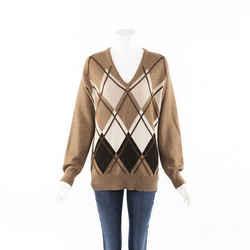 Miu Miu 2019 Argyle Camel Knit Sweater SZ 36