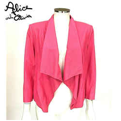 Alice And Olivia Warren Open Front Drape Neon Pink Leather Jacket Cardigan Sz M