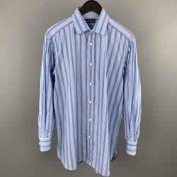 Ralph Lauren Purple Label Size M Blue Cotton Long Sleeve Shirt