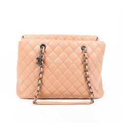 Chanel Bag City Shopping Beige Quilted Caviar Leather Tote