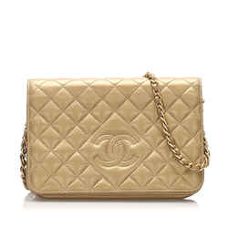 Vintage Authentic Chanel CC Timeless Lambskin Leather Wallet On Chain