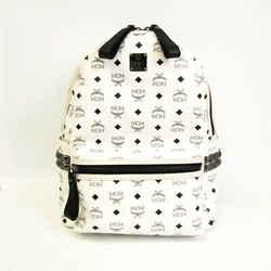 MCM MMK4SVE38WT001 Unisex Leather,PVC Backpack Black,White BF534751