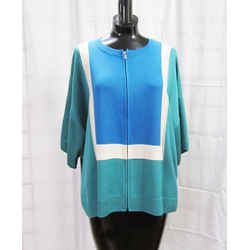 New St John Cardigan Jacket Md Lg Colorblock Verde Multi Zip Milano Knit Dolman