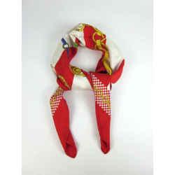 "Celine: Red & Gold, 100% Silk, Scarf Foulard 34"" X 34"""