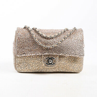 Chanel Limited Edition Strass Encrusted Flap Bag Mini Gold Silver Leather