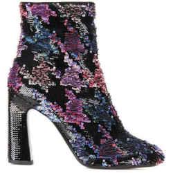 $2350 Roger Vivier Black Multi-color Sequin Ankle Boots Sz 8.5 It 38.5