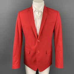 VERSACE COLLECTION Size 40 Red Cotton Notch Lapel Sport Coat