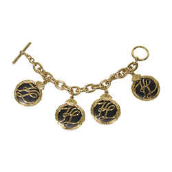 KARL LAGERFELD 1980s Gold Tone Charm Bracelet with Toggle Closure