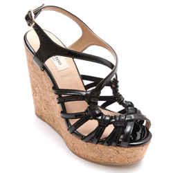 VALENTINO Black Patent Leather Wedge Sandal Platform 37 NIB $675