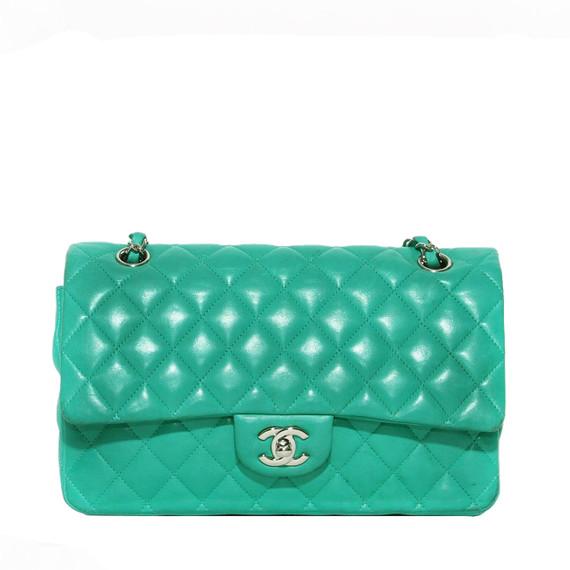 Chanel Classic Medium Flap Green Handbag