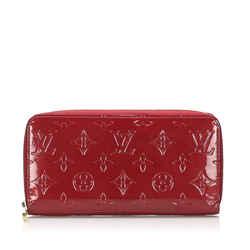 Vintage Authentic Louis Vuitton Red Vernis Zippy Long Wallet France