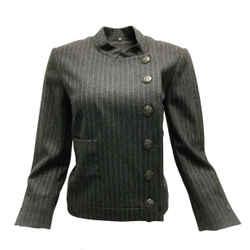 Chanel Grey Pinstriped Wool Blazer