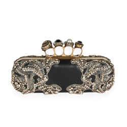 Alexander McQueen Embellished Black Leather 4 Ring Knucklebox Clutch