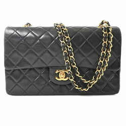 Auth Chanel Chanel Lambskin Matrasse Coco Mark W Flap Chain Shoulder Bag Black