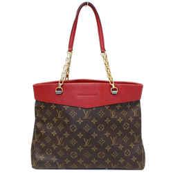 Louis Vuitton Pallas Chain Monogram Canvas Shopper Bag Brown