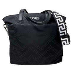 New Versace Black Nylon Tote Messenger Crossbody Bag