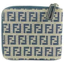 Fendi Navy Monogram FF Compact Zip Wallet 33FF1117
