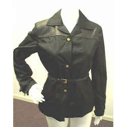 Prada Black Nylon Button Down Jacket W/ Leather Accents & Leather Belt - Size 42