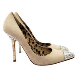 Roberto Cavalli Suede Jewel Embellished Heel Pointed Cap Toe 37.5 Nude Pumps