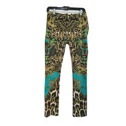Just Cavalli Just Chic Printed Multicolor Floral Leopard Jeggings Pants Sz 4