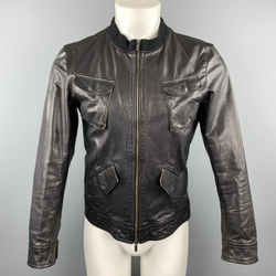 Emporio Armani Size S Black Leather Full Zip Patch Pockets Distressed Jacket