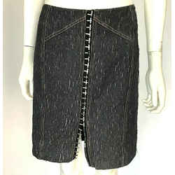 Versus Gianni Versace Front Hooks Blue Textured Denim Skirt Fabric 46 Us 10