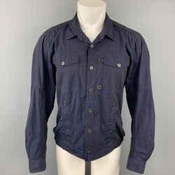 DRIES VAN NOTEN Size M Navy Cotton Trucker Jacket