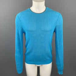 CALVIN KLEIN COLLECTION Size XS Aqua Mesh Cotton Crew-Neck Pullover