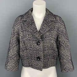 MAX MARA Size 6 Navy & White Boucle Cotton Blend Jacket Cropped Blazer