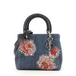 Vintage Lady Dior Bag  Embellished Denim Medium