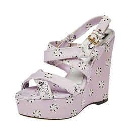 Dolce & Gabbana Purple Floral Print Canvas Wedge Platform Slingback Sandals