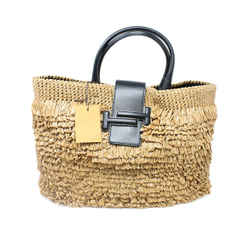 Tod's Raffia and Leather Double T Handbag