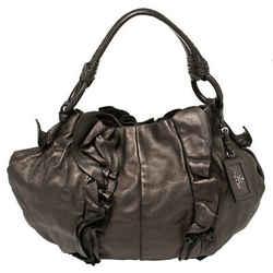 Prada Metallic Bronze Leather Ruffle Hobo Bag