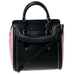 Alexander McQueen Black/Pink Leather Small Heroine Satchel