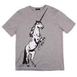Balenciaga - New  Mens Unicorn Graphic Tshirt - Grey Short Sleeve Tee US Large L