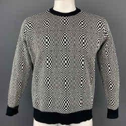 Vintage VERSACE CLASSIC Size XL Black & White Geometric Nylon Crew-Neck Pullover