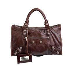 Vintage Authentic Balenciaga Brown Motocross City Giant 21 Leather Handbag Spain
