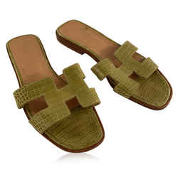 Hermes Green Crocodile Oran Flat Slide Sandals Size 36