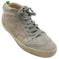 Golden Goose Deluxe Brand Grey Mid Star Distressed Suede and Leather Sneakers