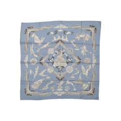 Light Blue & Grey Hermes Les Parures du Vent Silk Scarf
