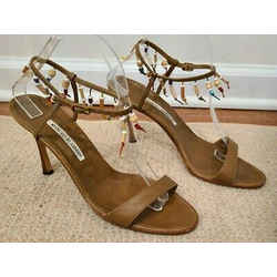 Manolo Blahnik Brown Strappy Sandals With Hanging Beads On The Ankle Strap - 41
